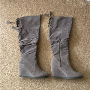 Gray Wedge Boots